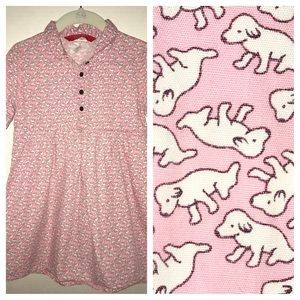 💖🐶 Esprit dress, pink with tiny white puppies 🐶